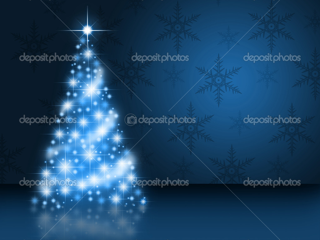 A bright shining blue christmas tree — Foto Stock #7689648