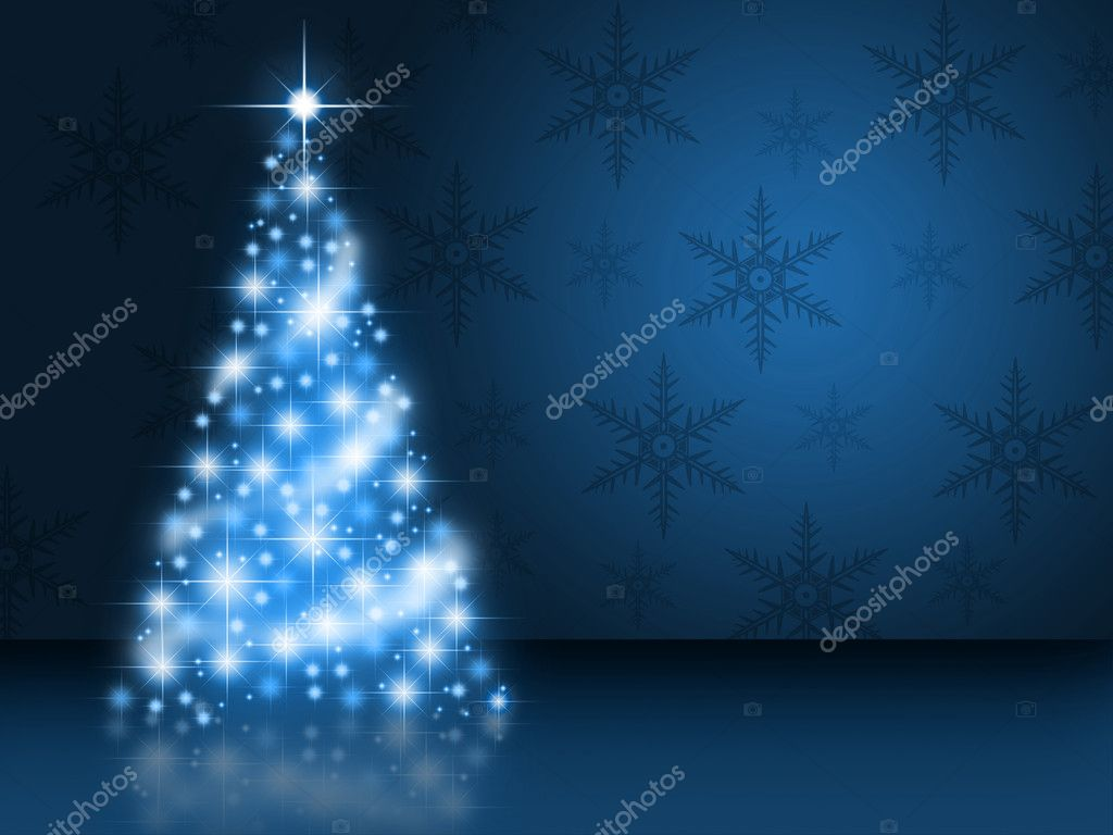 A bright shining blue christmas tree — Lizenzfreies Foto #7689648