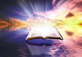 Floating Bible at Sunset — Stock Photo