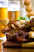Beer and pork — Stock Photo
