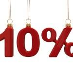 Ten percent shaped Christmas red balls — Stock Photo