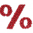 Percent mark made of red, shiny Christmas balls with gold caps. — 图库照片