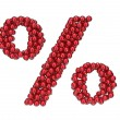 Percent mark made of red, shiny Christmas balls with gold caps. — Stockfoto