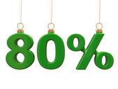 Quatre-vingt pour cent en forme de noël boules vertes — Photo