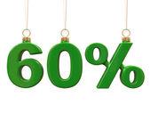 шестьдесят процентов форме рождество зеленые шарики — Стоковое фото