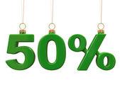 Cinquante pour cent en forme de noël boules vertes — Photo