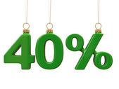 Czterdzieści procent w kształcie boże narodzenie zielone kulki — Zdjęcie stockowe