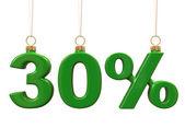Trzydzieści procent w kształcie boże narodzenie zielone kulki — Zdjęcie stockowe