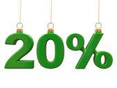 двадцать процентов форме рождество зеленые шарики — Стоковое фото