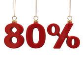 Quatre-vingt pour cent en forme de noël boules rouges — Photo