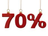 Siedemdziesiąt procent w kształcie boże narodzenie czerwone kulki — Zdjęcie stockowe