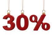 30 % 形クリスマスの赤のボール — ストック写真