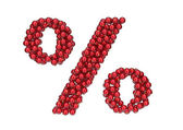 Percent mark made of red, shiny Christmas balls with gold caps. — Stock Photo