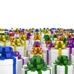 Giftboxes on the endless plane — Stock Photo