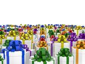 Giftboxes na płaszczyźnie niekończące się — Zdjęcie stockowe
