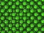 クリスマス ボールの緑の背景 — ストック写真