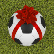 图库照片: Soccer ball with ribbon