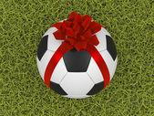 μπάλα ποδοσφαίρου με κορδέλα — Φωτογραφία Αρχείου