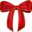 Shiny red gift ribbon with bow — Stock Vector