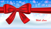 Gift card with red bow — Stock vektor
