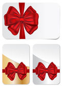 Set of gift cards with bows — Stock Vector