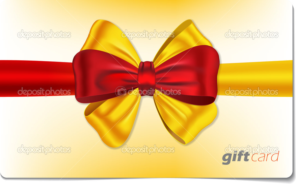 Gift card with red and yellow ribbon and bow. Vector illustration — Stock Vector #7696201