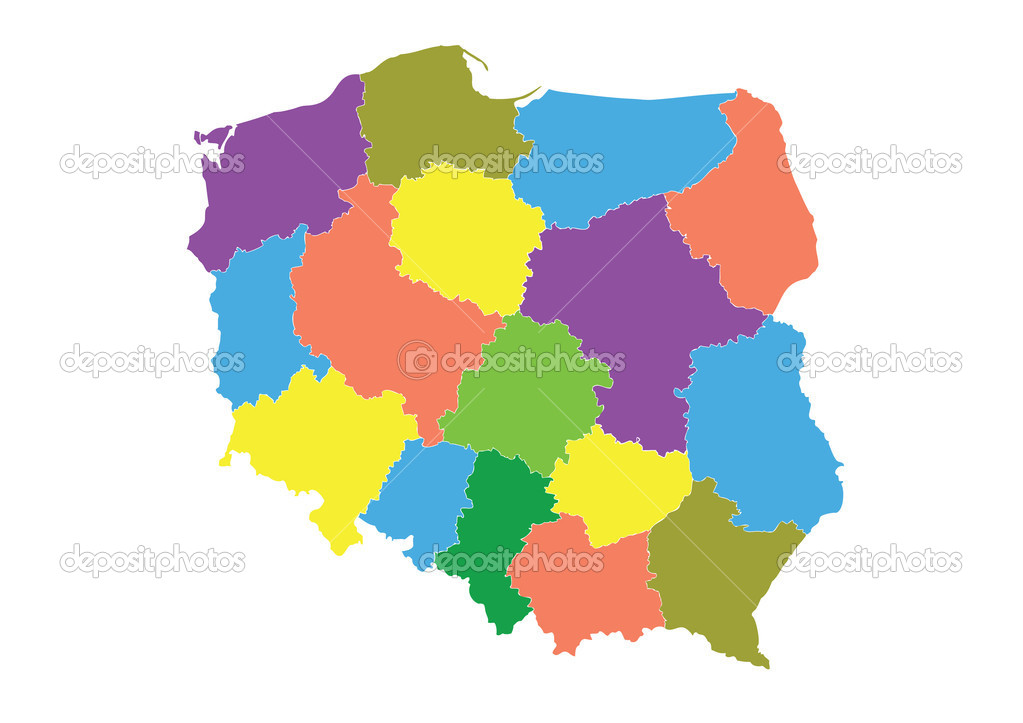 Detailed map of the Polish division of the province. — Stock Vector #7658471