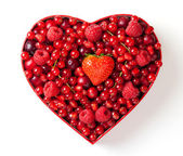 Red berries for in heart-shaped box — Stock Photo