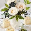 Holiday table decoration — Stock Photo