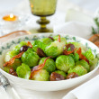 Brussels sprouts with bacon and chestnuts — Stock Photo #7806924