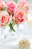 Arrangment of pink roses — Stock Photo