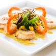 Salad with shrimp and scallop - Stockfoto