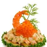 Shrimp salad and red caviar — Stock Photo #7875133