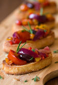 Bruschetta with roasted vegetables — Stock Photo