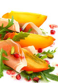 Salad with persimmon — Stock Photo