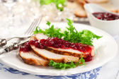 Turkey breast with cranberry sauce — Stock Photo