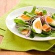 Salad with spinach and egg - Stock Photo