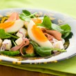 Stock Photo: Spring salad with spinach,egg,ham and feta