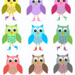 Seamless owl pattern - Stock Vector