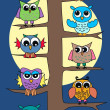 Lot of owls in a tree — Stock Vector #7704913