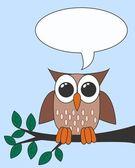 Owl with a speech bubble — Stock Vector