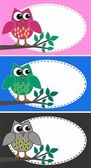 Tre illustrazioni di gufi diversi — Vettoriale Stock