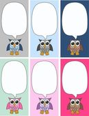 Color owls tags — Stock Vector