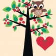 Owl sitting in a tree — Stock Vector #7762970