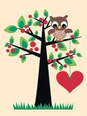 Owl sitting in a tree — Stock Vector