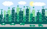 Green city skyline — Stock Vector