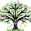 Stock Vector: A tree full of owls