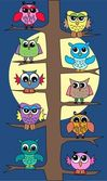 Lot of colorful owls in a tree — Stock Vector