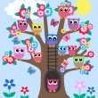 A tree full of owls — Stockvectorbeeld