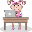 A girl with a laptop — Stock Vector #7808064